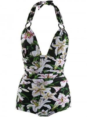 Купальник с цветочным принтом и вырезом халтер Dolce & Gabbana. Цвет: зеленый
