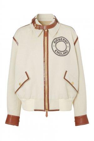 Куртка с логотипом и кожаной отделкой Burberry. Цвет: бежевый