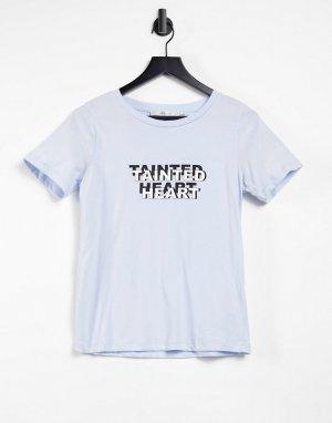 Голубая футболка с принтом Tainted-Голубой Gestuz