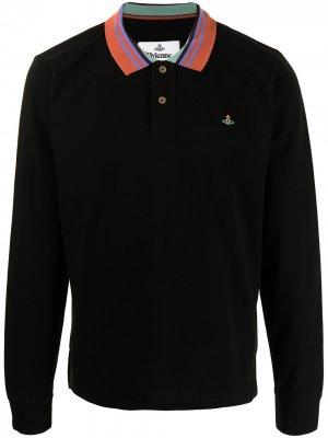 Рубашка поло с длинными рукавами и вышитым логотипом Vivienne Westwood. Цвет: черный