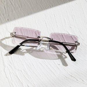 Мужские квадратные солнцезащитные очки без оправы SHEIN. Цвет: лиловый фиолетовый