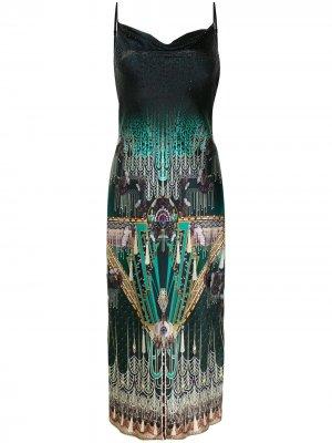 Graphic-print bias-cut dress Camilla. Цвет: зеленый