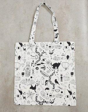 Белая сумка-тоут из органического хлопка Maja-Белый Monki