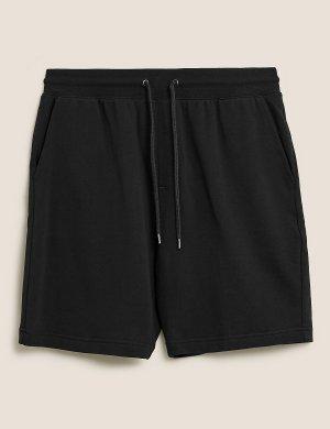 Трикотажные шорты с регулируемой талией M&S Collection. Цвет: черный