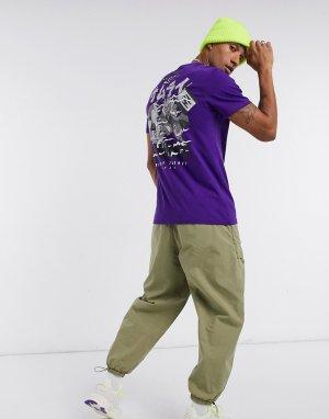 Фиолетовая футболка с принтом самурая на спине -Фиолетовый Bershka