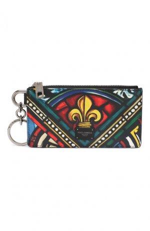 Кожаный футляр для кредитных карт Dolce & Gabbana. Цвет: разноцветный