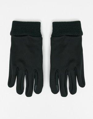 Черные перчатки для сенсорных гаджетов со вставками из искусственной кожи -Черный цвет ASOS DESIGN