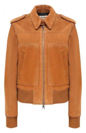 Кожаная куртка Zadig&Voltaire. Цвет: коричневый