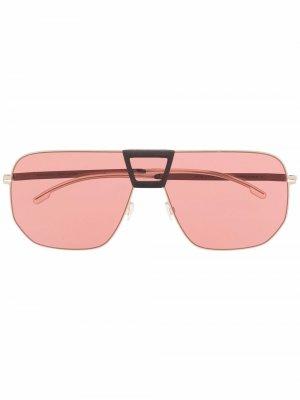 Солнцезащитные очки в массивной оправе Mykita. Цвет: золотистый