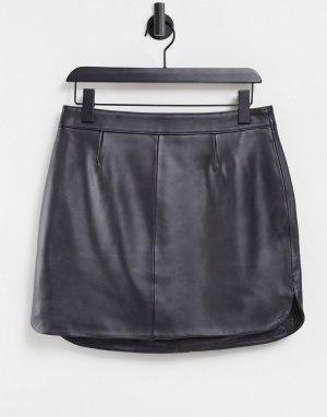 Черная кожаная юбка мини с закругленным краем -Черный цвет ASOS DESIGN