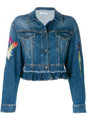 Джинсовая куртка с вышитыми цветами Vivetta. Цвет: синий