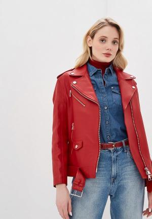 Куртка кожаная Karl Lagerfeld. Цвет: красный