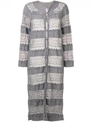 Удлиненный кардиган тонкой вязки Christian Dior. Цвет: серый