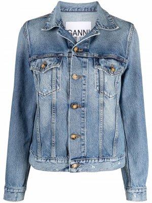 Джинсовая куртка с эффектом потертости GANNI. Цвет: синий