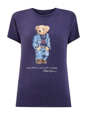 Хлопковая футболка с аппликацией в виде медведя Поло POLO RALPH LAUREN. Цвет: синий