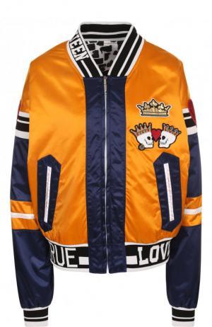 Бомбер на молнии с контрастной отделкой Dolce & Gabbana. Цвет: оранжевый