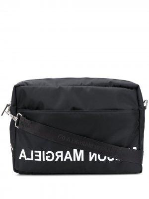 Сумка для ноутбука с логотипом MM6 Maison Margiela. Цвет: черный