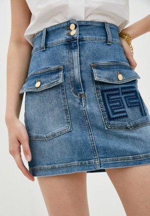 Юбка джинсовая Elisabetta Franchi. Цвет: голубой