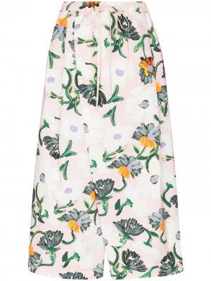 Укороченные брюки с цветочным принтом Marni. Цвет: розовый