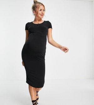 Базовое трикотажное платье миди черного цвета с короткими рукавами Flounce Maternity-Черный цвет London Maternity