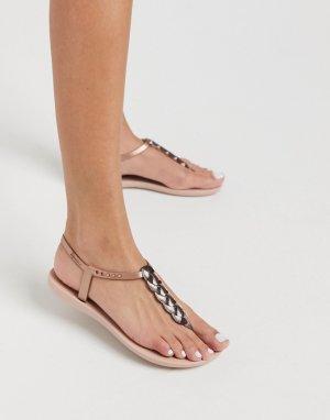 Пудровые сандалии с золотистой отделкой Charm-Бежевый Ipanema