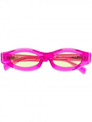 Солнцезащитные очки в узкой овальной оправе Kuboraum. Цвет: розовый