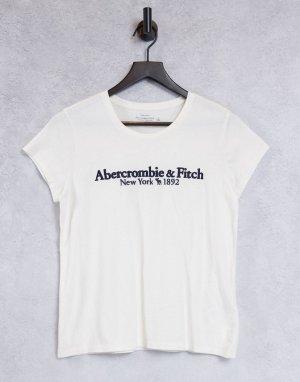 Белая футболка с короткими рукавами и логотипом -Белый Abercrombie & Fitch
