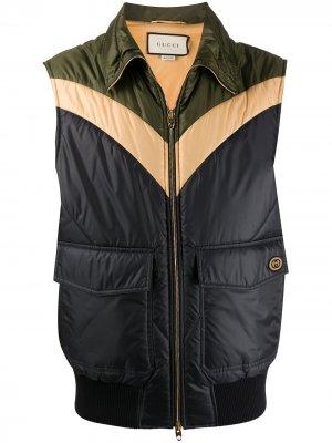 Дутый жилет с логотипом Interlocking G Gucci. Цвет: зеленый