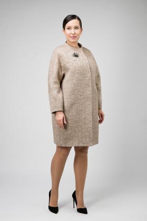 Шерстяное пальто О-силуэта для больших размеров Elisabetta. Цвет: песочный