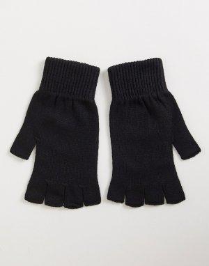 Черные перчатки без пальцев -Зеленый цвет ASOS DESIGN