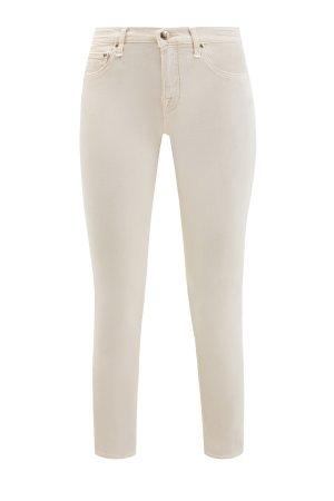 Укороченные джинсы-skinny c окрашиванием ручной работы JACOB COHEN. Цвет: бежевый