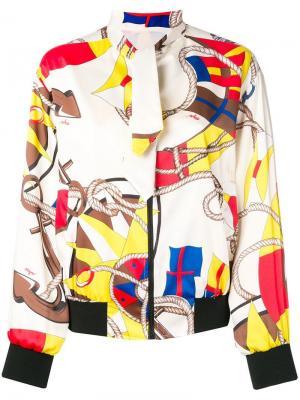 Куртка-бомбер с принтом MSGM. Цвет: белый