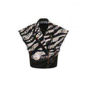 Джинсовая куртка Versace Jeans Couture. Цвет: чёрно-белый