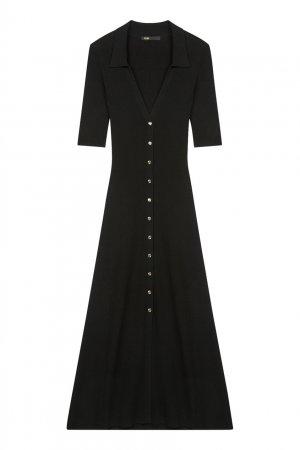 Черное трикотажное платье миди на пуговицах Maje. Цвет: черный