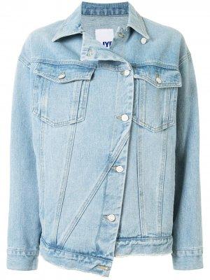 Джинсовая куртка асимметричного кроя SJYP. Цвет: синий