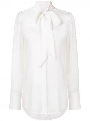 Блузка с воротником завязкой на мягкий бант Equipment. Цвет: белый