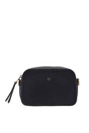 Черная кожаная сумка Camera Fendi. Цвет: черный