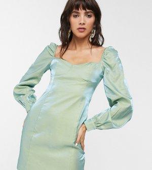 Платье мини из тафты металлик с чашечками -Синий Glamorous
