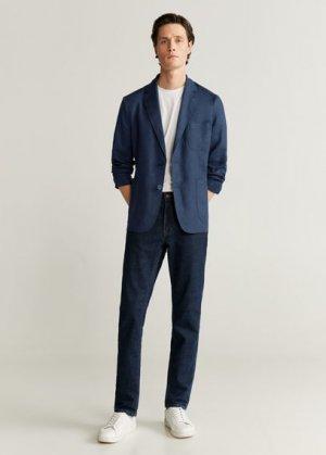 Пиджак slim fit 100% лен - Bislave Mango. Цвет: темно-синий