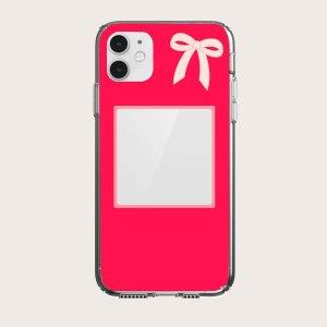 Чехол для телефона с принтом фоторамки SHEIN. Цвет: красный