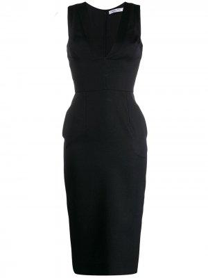 Приталенное платье миди 1990-х годов с V-образным вырезом Christian Dior. Цвет: черный