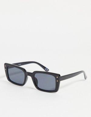 Черные квадратные солнцезащитные очки в оправе среднего размера из переработанного материала с металлическими заклепками ASOS DESIGN-Черный цвет