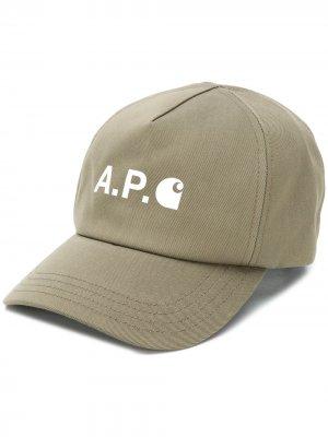 Саржевая кепка с логотипом A.P.C.. Цвет: зеленый