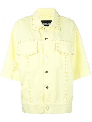 Джинсовая куртка с заклепками Marco Bologna. Цвет: жёлтый и оранжевый