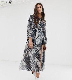 Сетчатое платье с разрезами до бедра и мраморным принтом -Серый ebonie n ivory