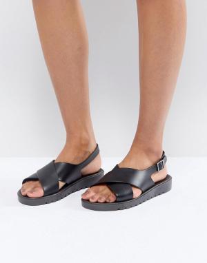 Силиконовые сандалии ASOS FREQUENT DESIGN. Цвет: черный