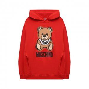 Хлопковое худи Moschino. Цвет: красный