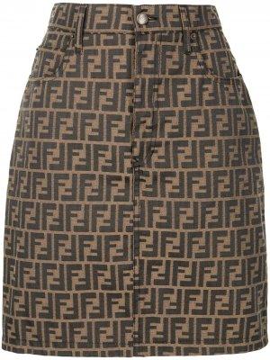 Джинсовая юбка с узором Zucca Fendi Pre-Owned. Цвет: коричневый