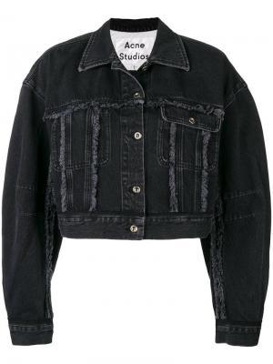 Укороченная джинсовая куртка Acne Studios. Цвет: черный