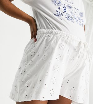 Белые свободные шорты с вышивкой бродери и завышенной талией ASOS DESIGN Maternity-Белый Maternity
